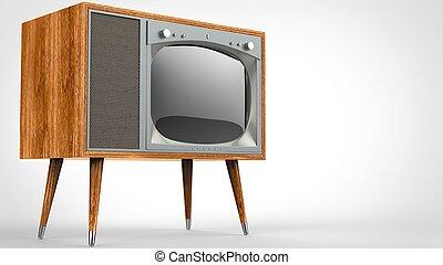 Wooden vintage TV set with legs - studio shot