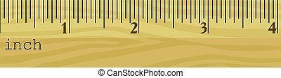 wooden vonalzó, alatt, lassan mászik