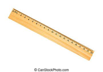 wooden vonalzó, izbogis, elszigetelt, whi