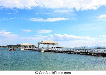 Wooden walk bridge to the sea