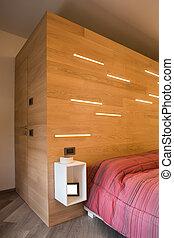 Wooden walk-in closet, external view