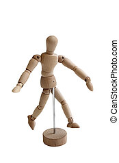 Wooden walking model isolated