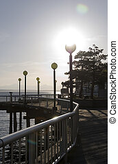 Wooden walkway along the pier