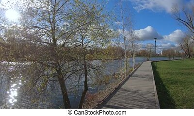 Wooden walkway by the pond in a city park in mid-autumn