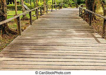 Wooden walkway in the park