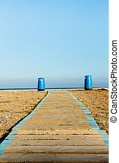 Wooden walkway on the beach.