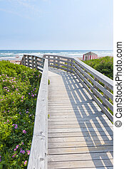 Wooden walkway to ocean beach