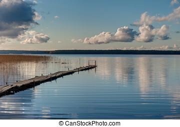 Wooden walkways on the lake