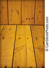 Wooden wall and floor - natural background