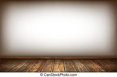 White wall, wooden floor and baseboard with aged surface, realistic vector illustration. Vintage wall and floor made of darkened wood, realistic plank texture. Empty room interior background