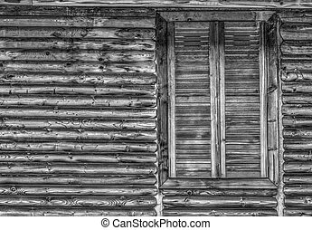 Wooden wall and window in black and white