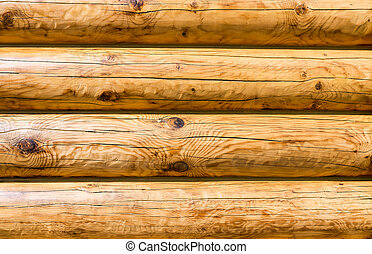 Wooden wall from logs as background texture