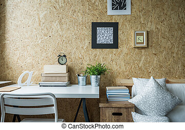 Wooden wall in designed room - Wooden wall in designed teen...