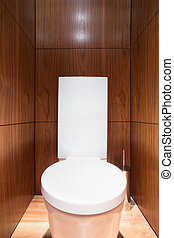 Wooden wall in toilet in luxury home