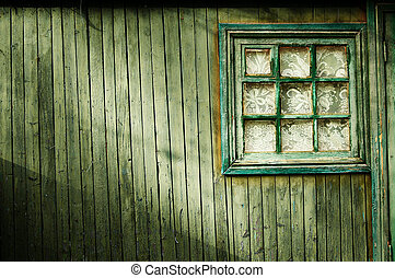 Wooden wall of green color