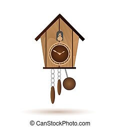 wooden wall pendulum clock with cuckoo vector object eps10
