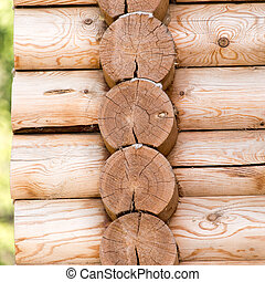 wooden wall with log