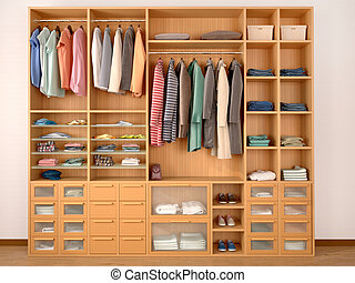 wooden wardrobe closet full of different things. 3d...