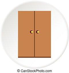 Wooden wardrobe icon circle
