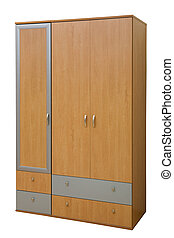 wooden wardrobe - modern wooden wardrobe on a white...