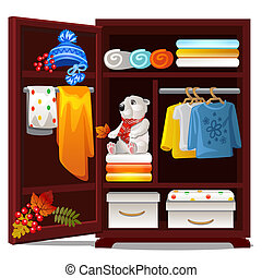 Wooden wardrobe with objects on the autumn theme isolated on white background. Warm wool autumn clothing, hats, towels, plush bear. Vector cartoon close-up illustration.