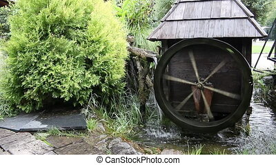 wooden water mill