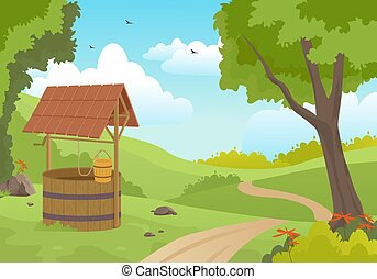 Wooden water well in forest illustration. Picturesque old spring with canopy and bucket on rope standing green meadow along road calm summer countryside trees flowers. Vector cartoon traditions.