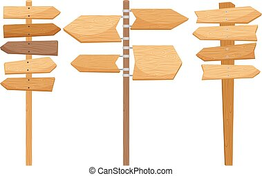 Wooden way direction signs