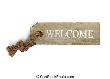 Wooden welcome sign, isolated on white.