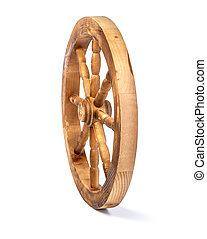 wooden wheel on a white