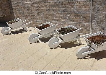 Wooden Wheelbarrow with flowers wooden Wheelbarrows for a garden white