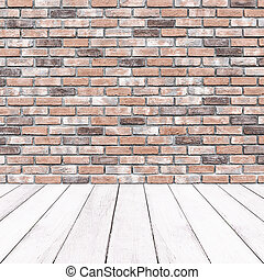Wooden white balcony and brick wall background