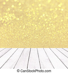 Wooden white balcony and golden bokhe background