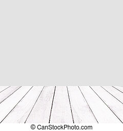 Wooden white balcony on gray background.