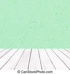 Wooden white balcony on Green mulberry paper texture for Christmas background