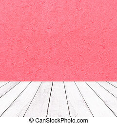 Wooden white balcony on red mulberry paper texture for Christmas background