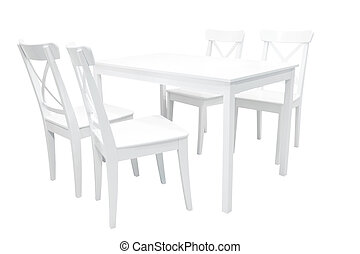 Wooden white dining table
