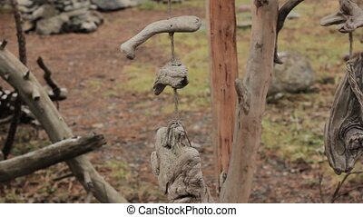 wooden wind chime in park