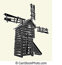Wooden Windmill Vector