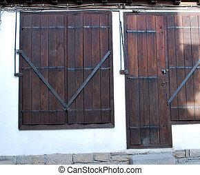 wooden window and door
