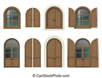 Wooden window and doors with shutters