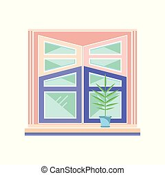 Wooden window frame, architectural design element vector Illustration on a white background