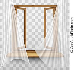 Wooden window frame with curtains on a transparent background. Vector