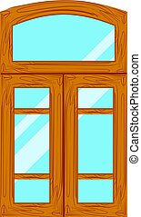 wooden window frames view .