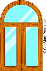 wooden window frames view .
