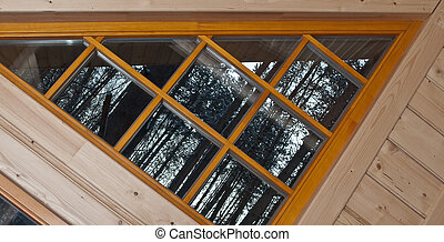 Wooden window in country house
