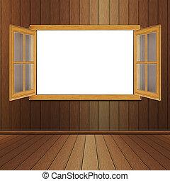 Wooden Window in Room