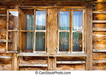 Wooden window in rural house