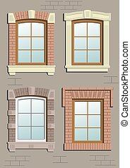 Wooden window in the wall in vector graphics.