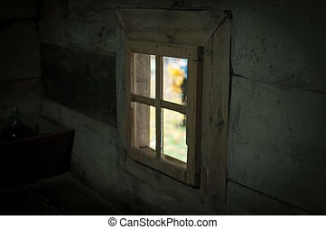 Wooden window indoors in old house